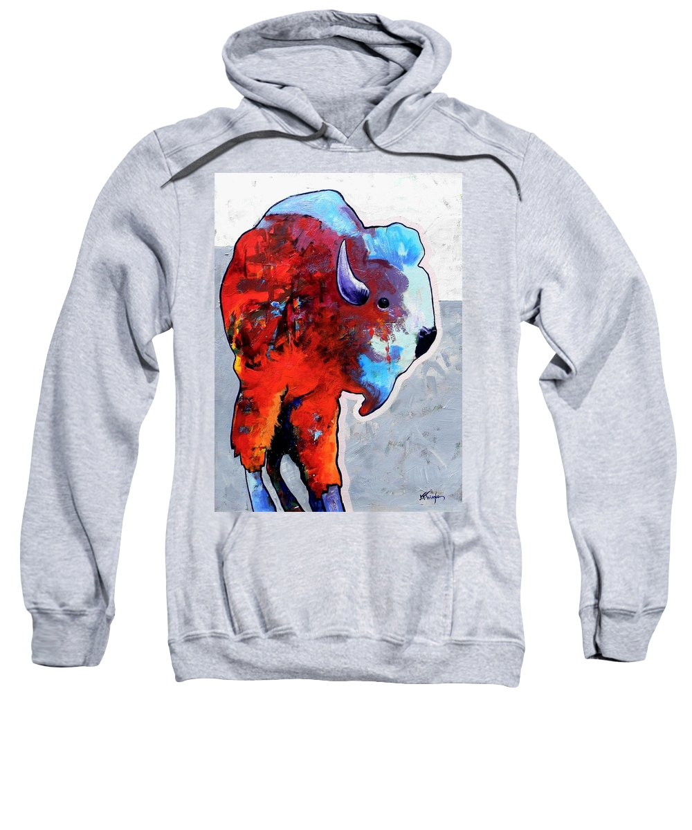 Wildlife Sweatshirt featuring the painting Rainbow Warrior Bison by Joe Triano