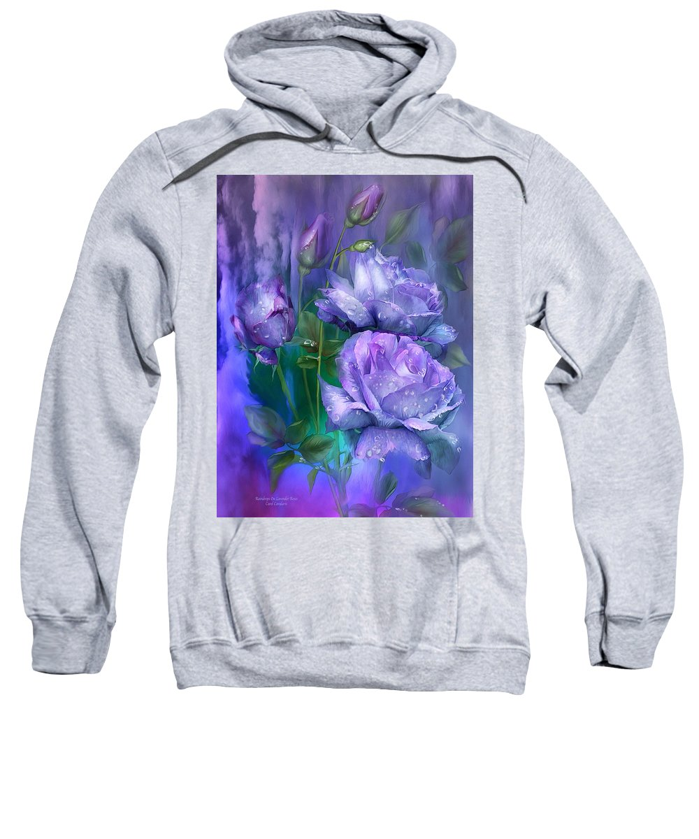 Roses Sweatshirt featuring the mixed media Raindrops On Lavender Roses by Carol Cavalaris
