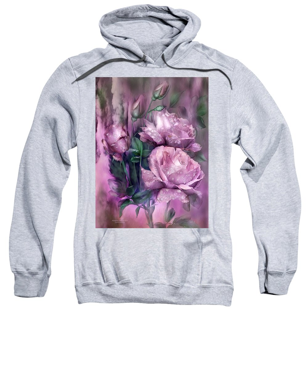 Rose Sweatshirt featuring the mixed media Raindrops On Pink Roses by Carol Cavalaris