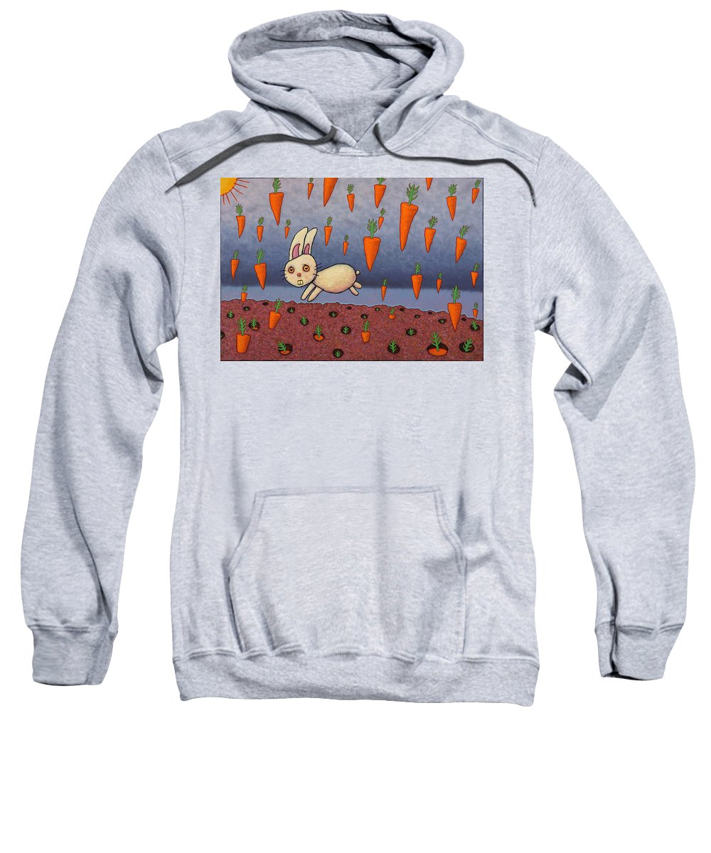 Bunny Sweatshirt featuring the painting Raining Carrots by James W Johnson