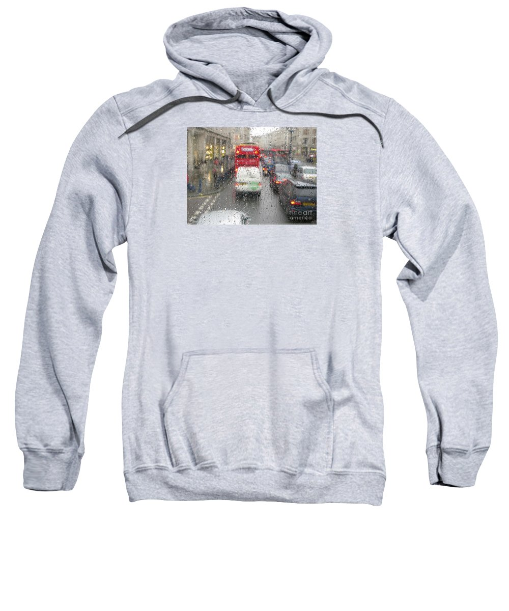 London Sweatshirt featuring the photograph Rainy Day London Traffic by Ann Horn