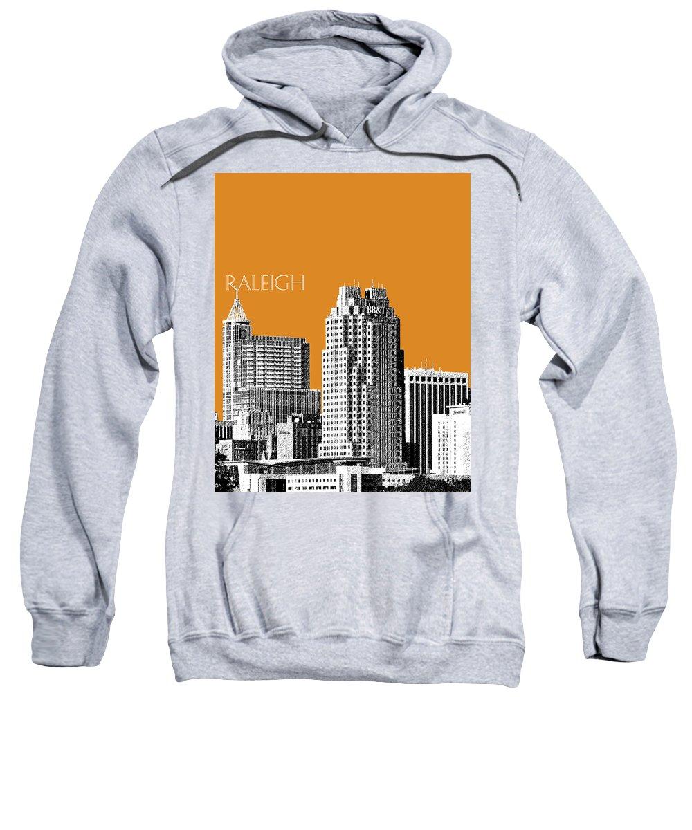 Architecture Sweatshirt featuring the digital art Raleigh Skyline - Dark Orange by DB Artist