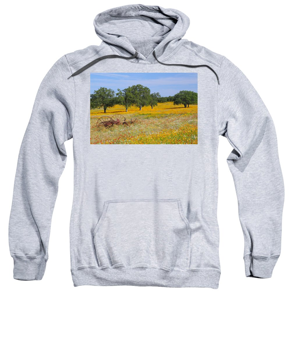 Texas Sweatshirt featuring the photograph Ranch And Wildflowers And Old Implement 2am-110556 by Andrew McInnes