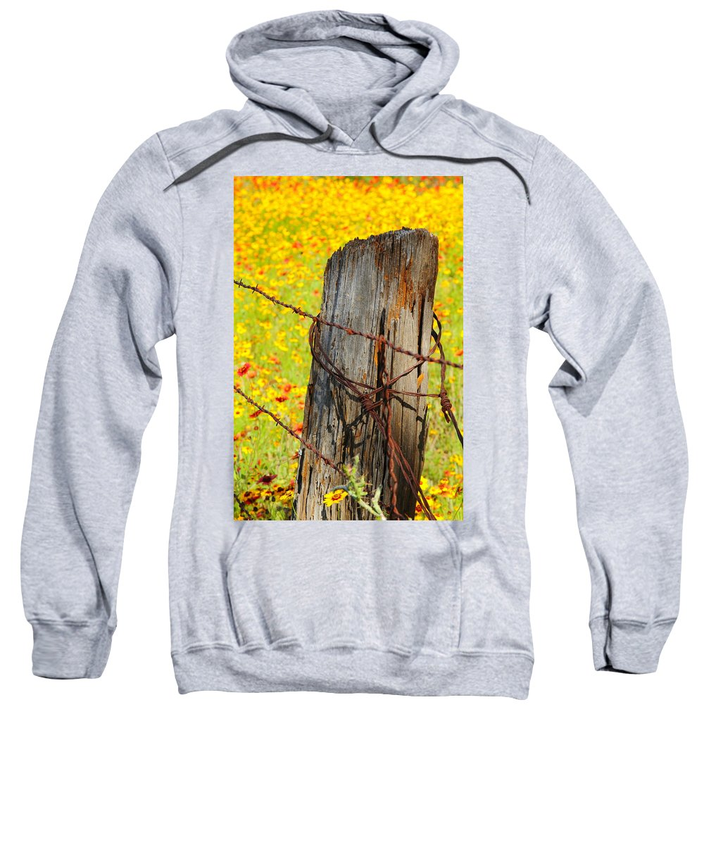 Texas Sweatshirt featuring the photograph Ranch Wildflowers And Fence 2am-110532 by Andrew McInnes