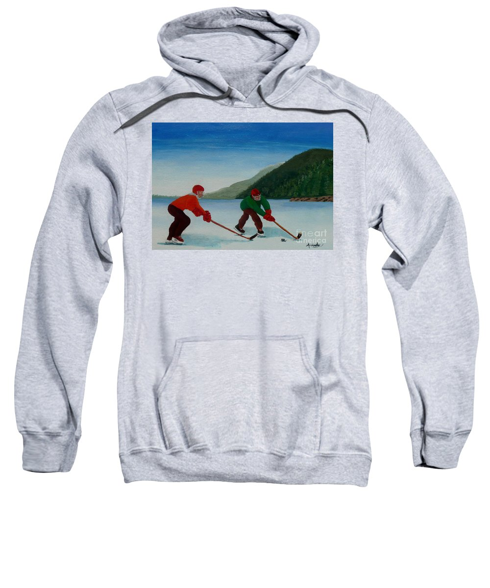Pond Sweatshirt featuring the painting Reach For It by Anthony Dunphy
