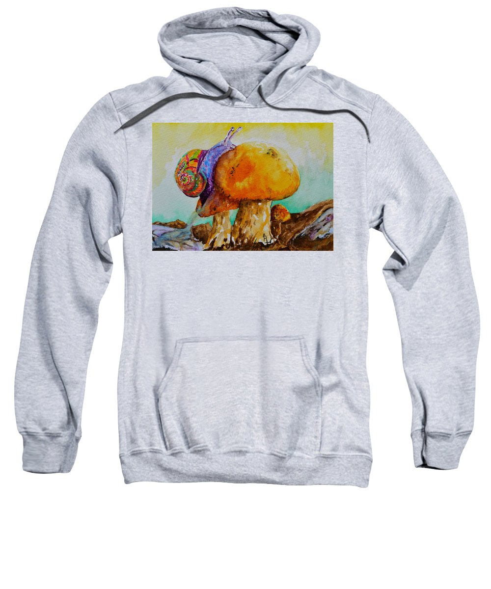 Snail Sweatshirt featuring the painting Reaching The Summit by Beverley Harper Tinsley