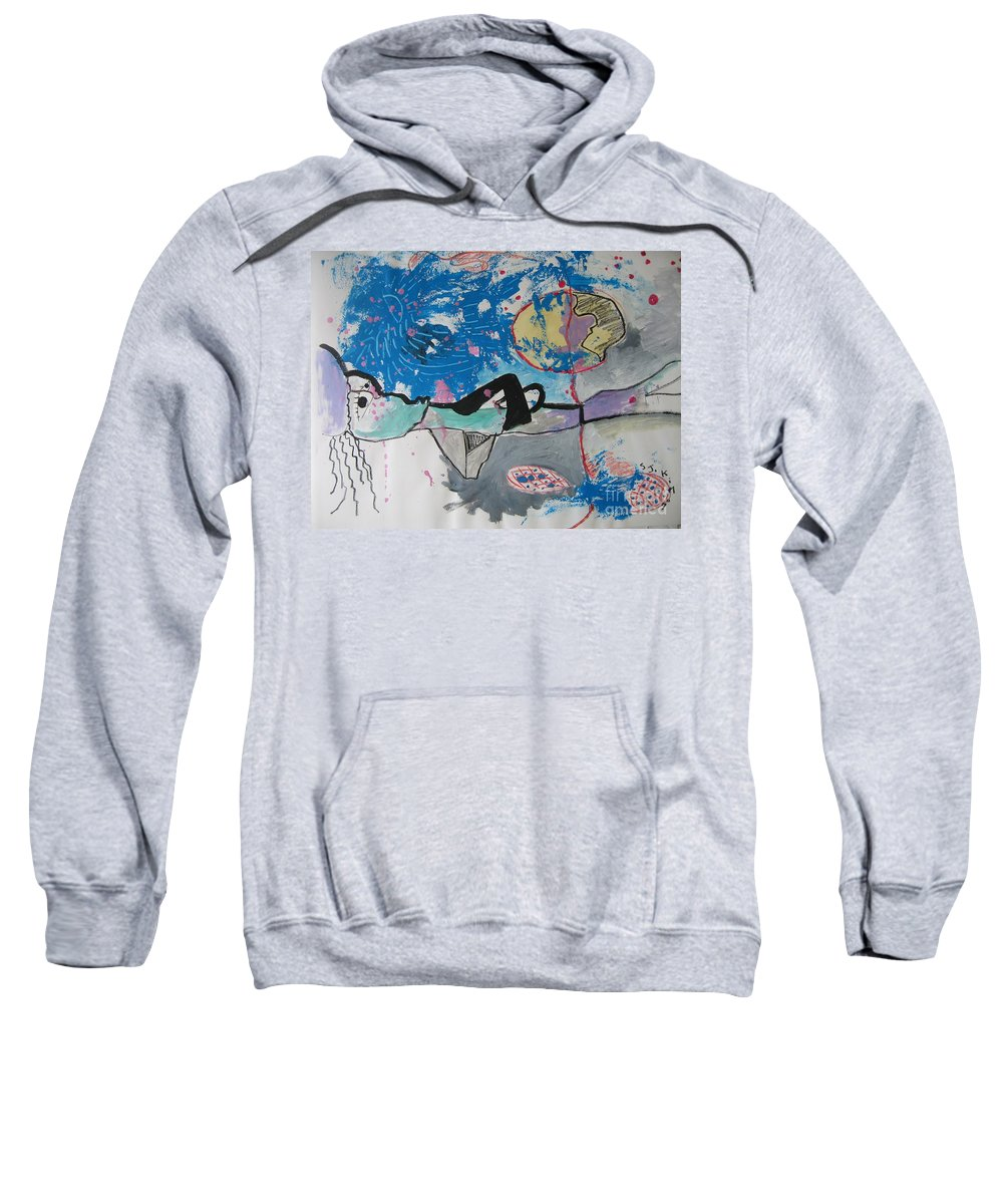 Abstract Paintings Sweatshirt featuring the painting Read My Mind2 by Seon-Jeong Kim