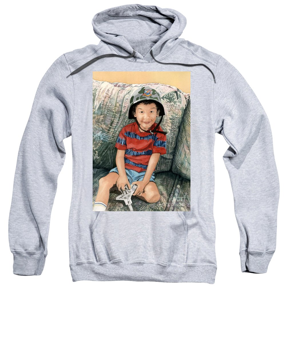 Child Sweatshirt featuring the painting Ready For Action by Barbara Jewell