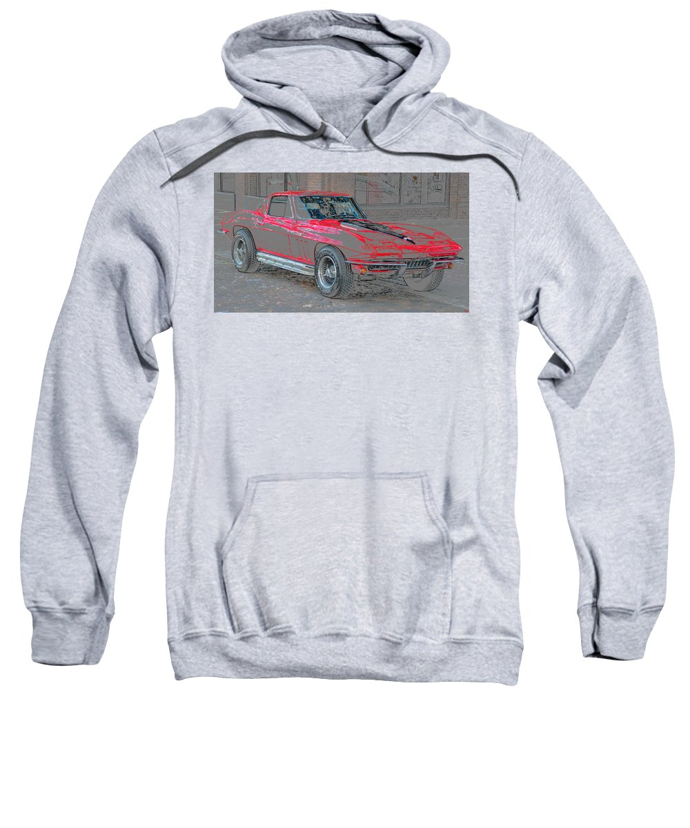 1965 Chevy Corvette Sweatshirt featuring the painting Red 65 by David Lee Thompson