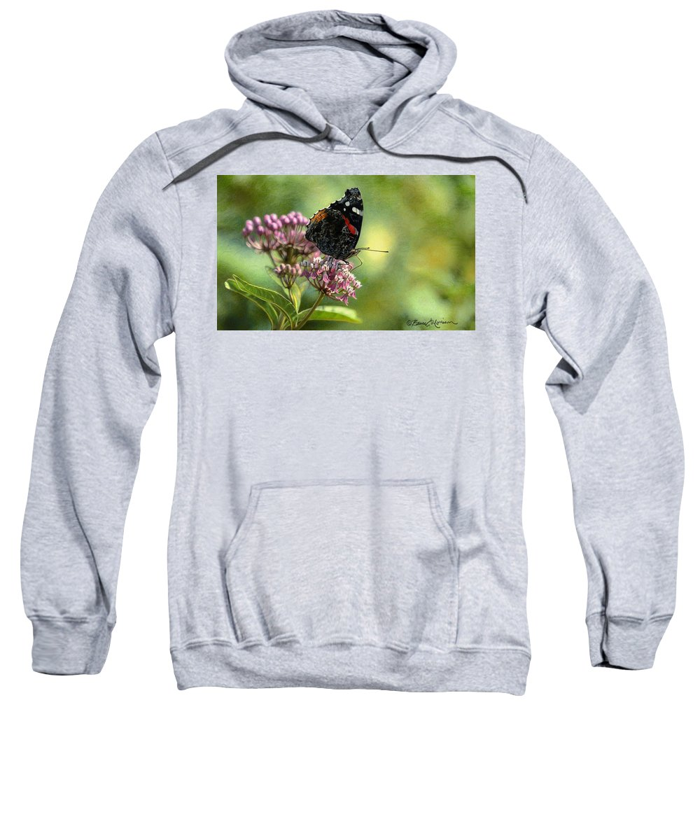 Butterfly Sweatshirt featuring the drawing Red Admiral on Swamp Milkweed by Bruce Morrison