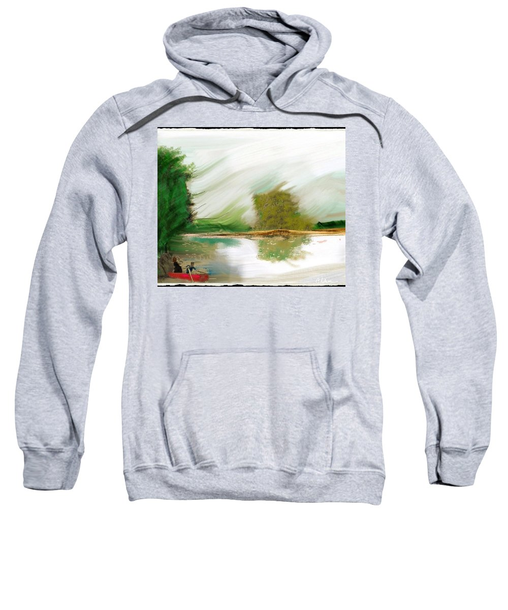 Red Boat Sweatshirt featuring the painting Red Boat by Craig Nelson