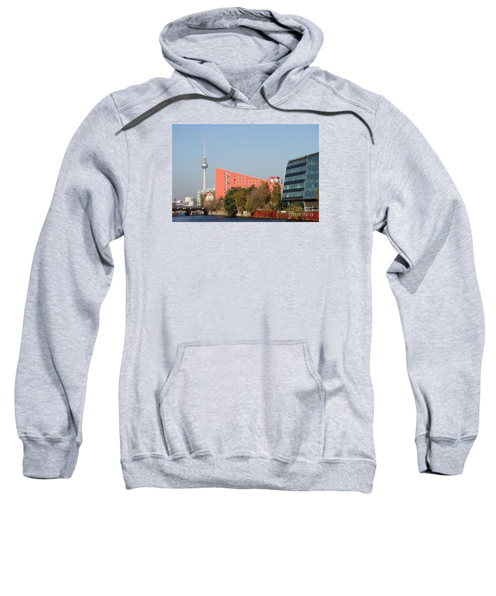 River Sweatshirt featuring the photograph Red Building And Alex by Christiane Schulze Art And Photography