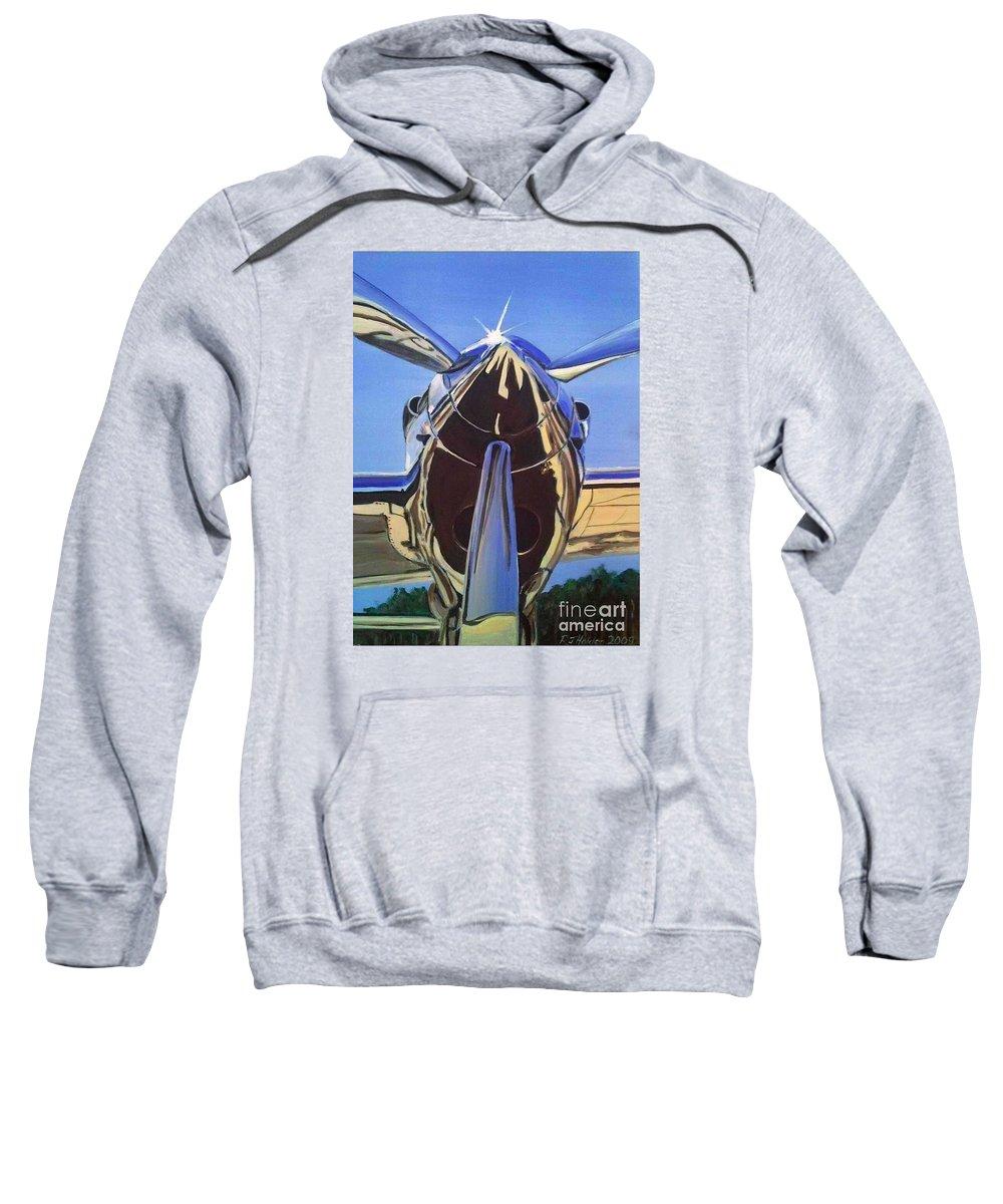 Warbirds Sweatshirt featuring the painting Red Bull P38 Lightning Port Engine Warbird by Richard John Holden RA