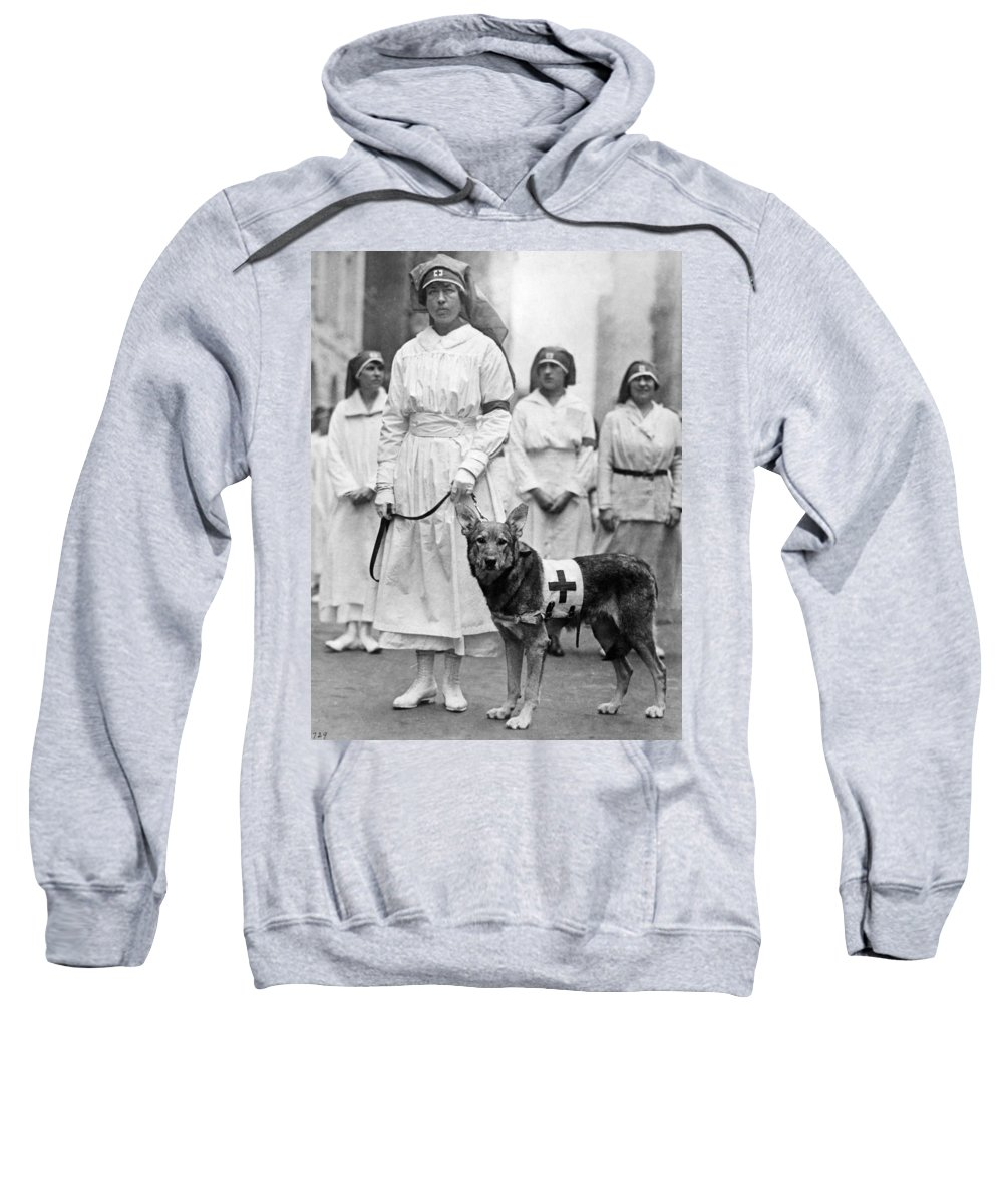 1920 Sweatshirt featuring the photograph Red Cross Parade, 1920 by Granger