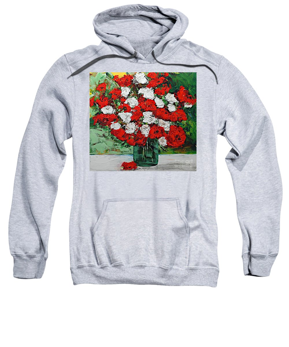 Landscape Sweatshirt featuring the painting Red Explosion by Allan P Friedlander