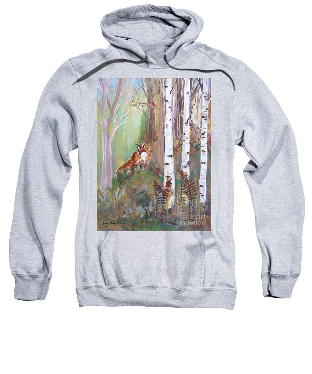 Red Fox Sweatshirt featuring the painting Red Fox And Cardinals by Robin Maria Pedrero