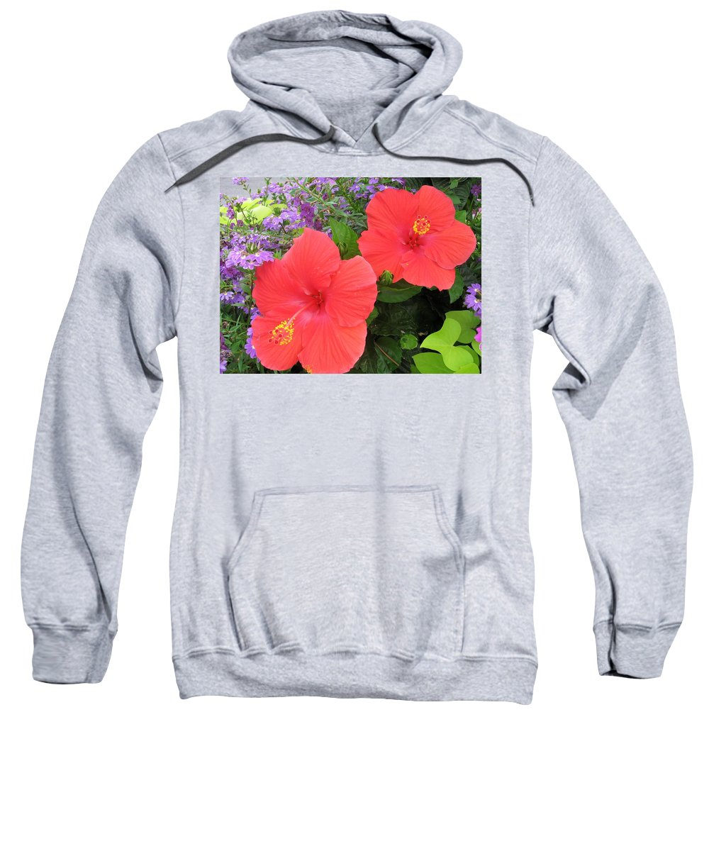 Red Hibiscus And Purple Blossoms -florals - Flowers - Nature - Tropical Flowers Sweatshirt featuring the photograph Red Hibiscus And Purple Blossoms by Dora Sofia Caputo Photographic Design and Fine Art
