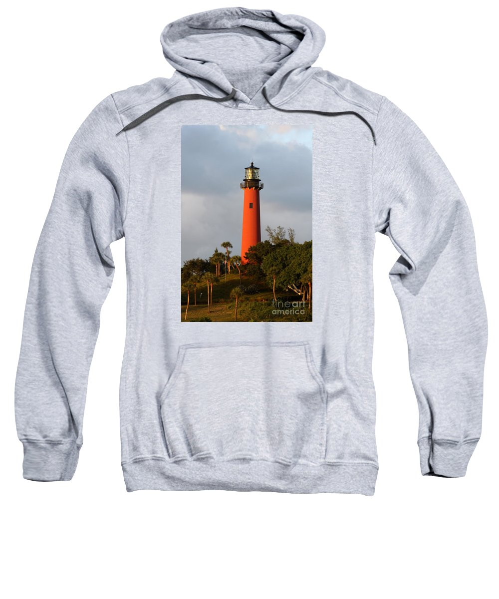 Red Jupiter Lighthouse Sweatshirt featuring the photograph Red Jupiter Light by Christiane Schulze Art And Photography