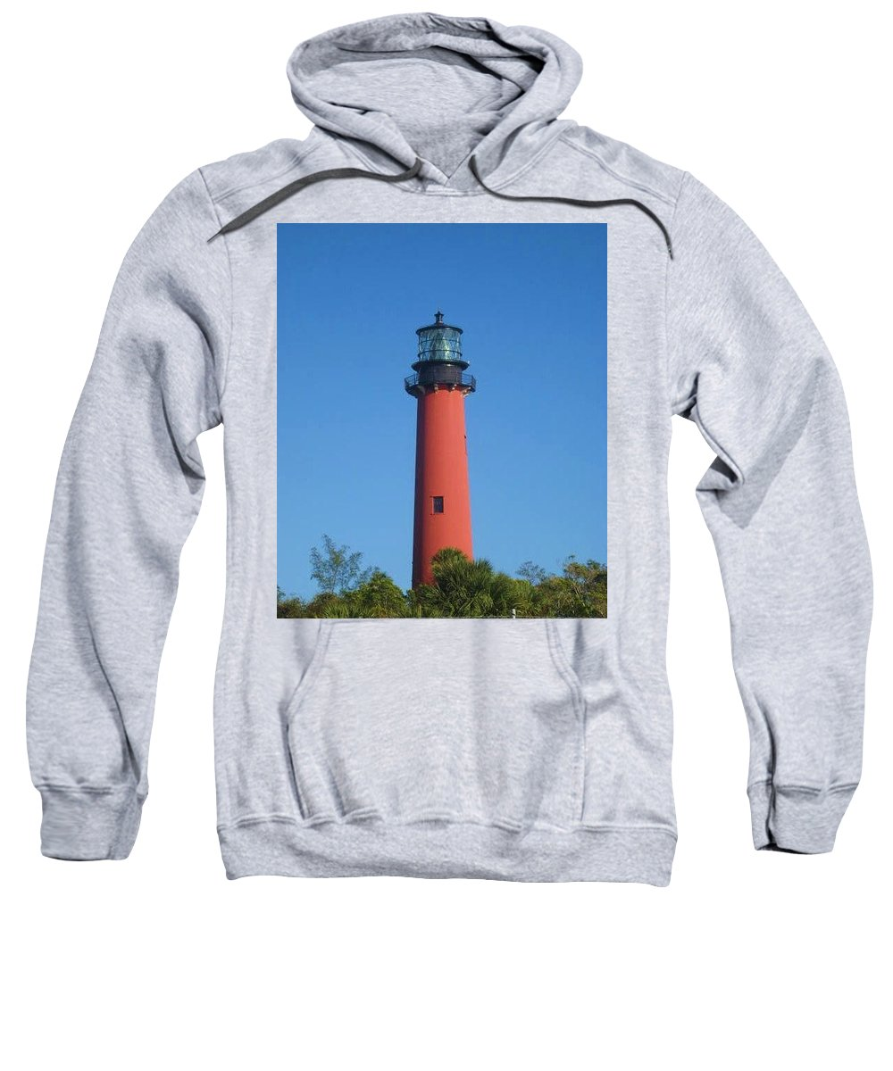 Jupiter Lighthouse Sweatshirt featuring the photograph Red Lighthouse by Catie Canetti