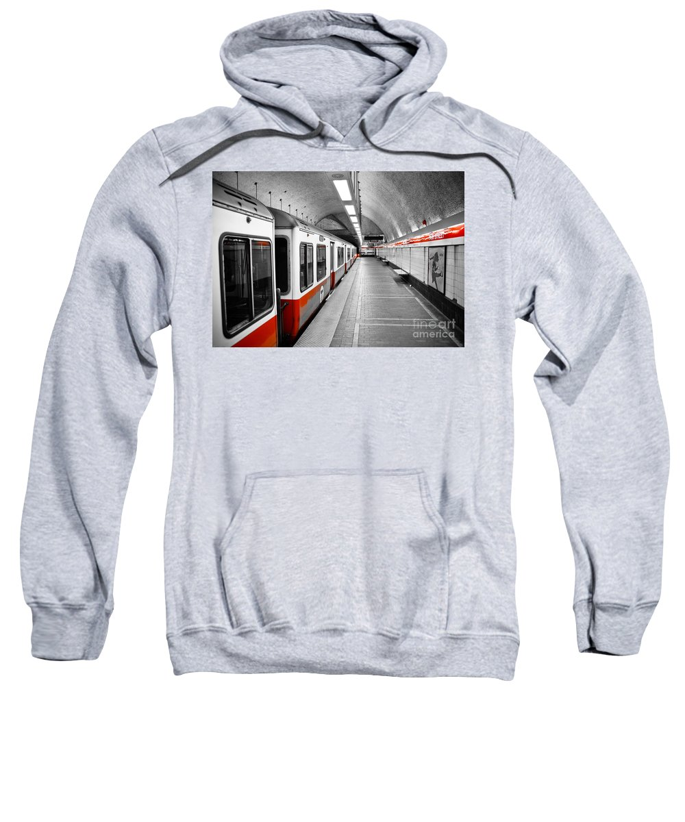 Red Sweatshirt featuring the photograph Red Line by Charles Dobbs