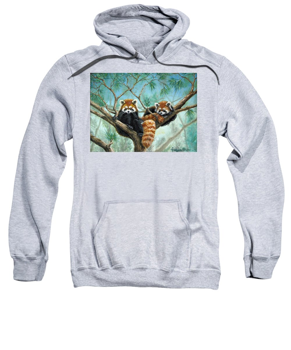 The Other Panda Sweatshirt featuring the painting Red Pandas by Beverly Fuqua