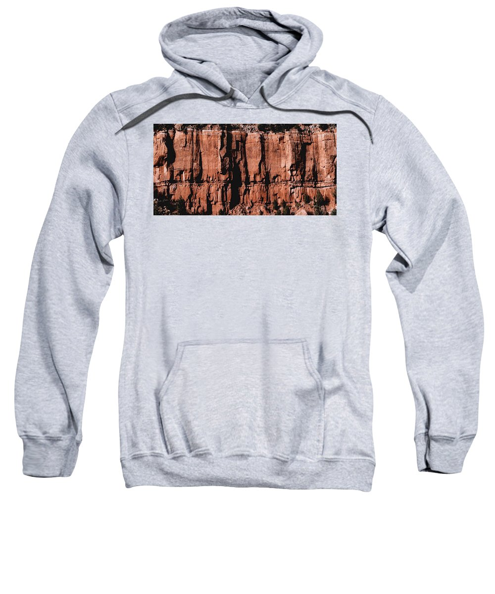 Digital Sweatshirt featuring the digital art Red Rock Wall by David Hansen