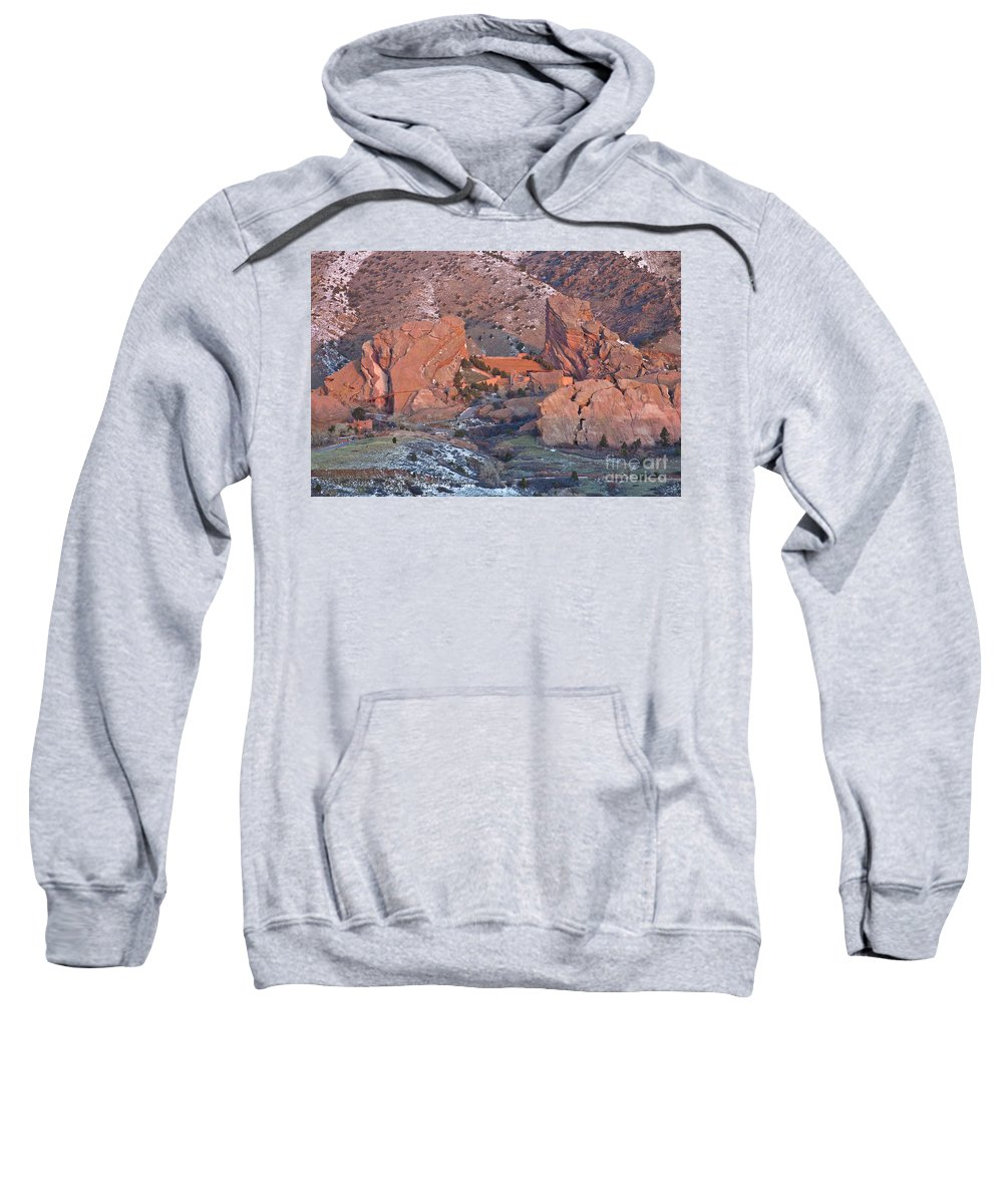 Red Sweatshirt featuring the photograph Red Rocks Amphitheater On Fire by Benjamin Reed