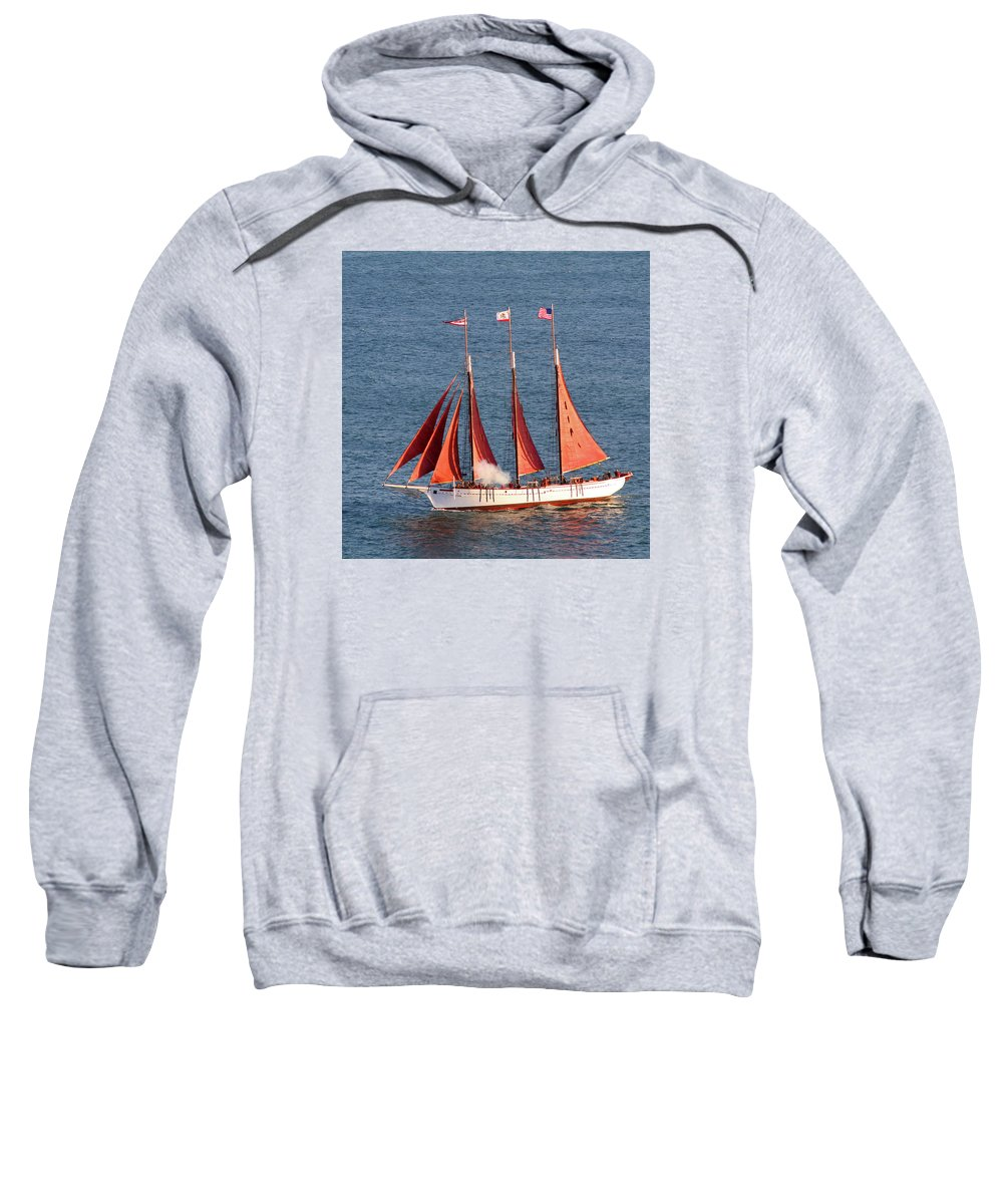 Tall Ships Sweatshirt featuring the photograph Red Sails by Art Block Collections