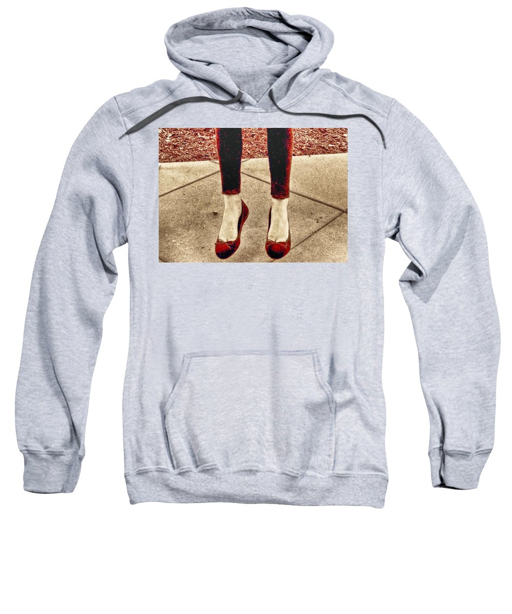 Red Shoe Print Sweatshirt featuring the photograph Red Shoes by Kristina Deane