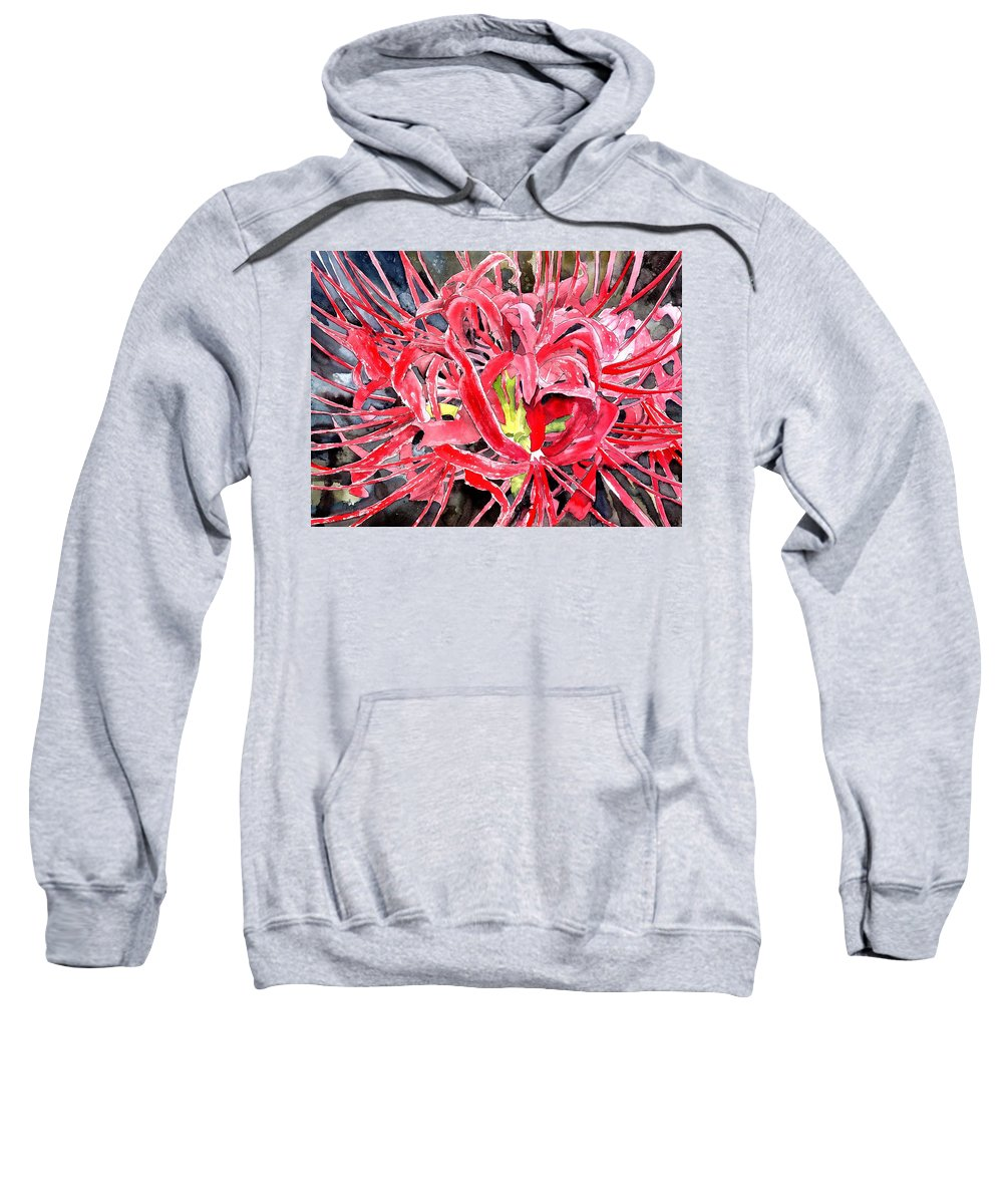 Watercolor Sweatshirt featuring the painting Red Spider Lily Flower Painting by Derek Mccrea
