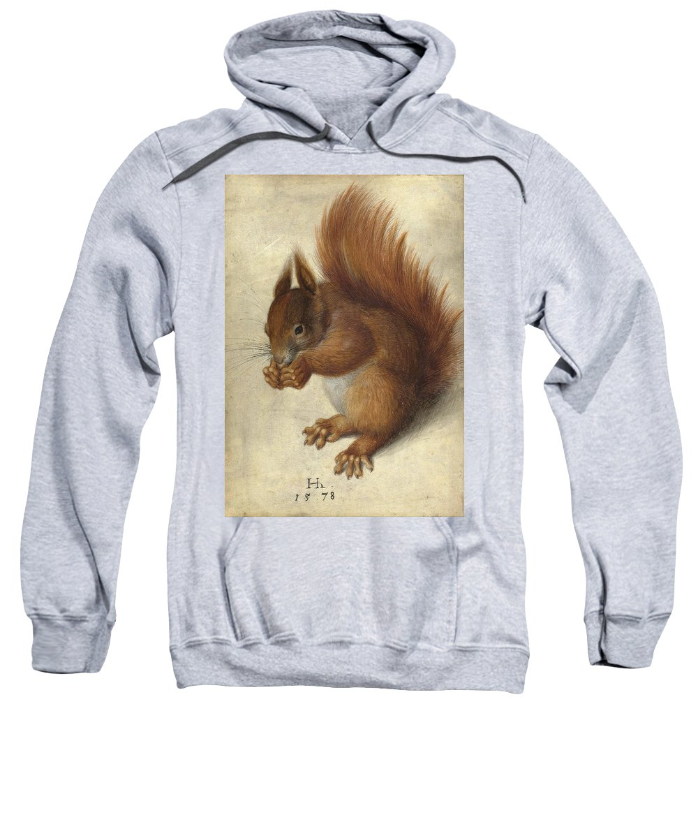 Hans Hoffmann Sweatshirt featuring the drawing Red Squirrel by Hans Hoffmann