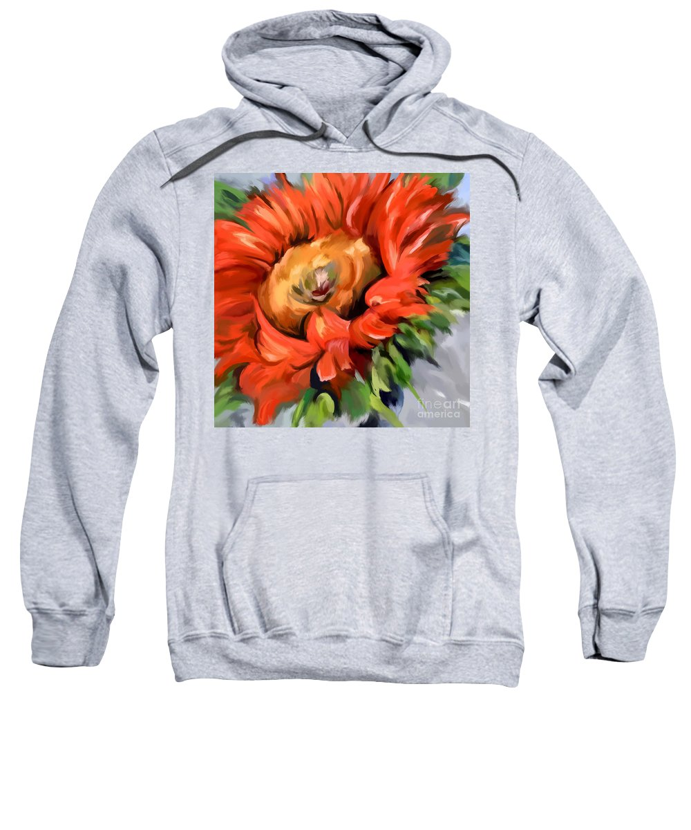 Expressionist Sweatshirt featuring the painting Red Sunflower by Tim Gilliland