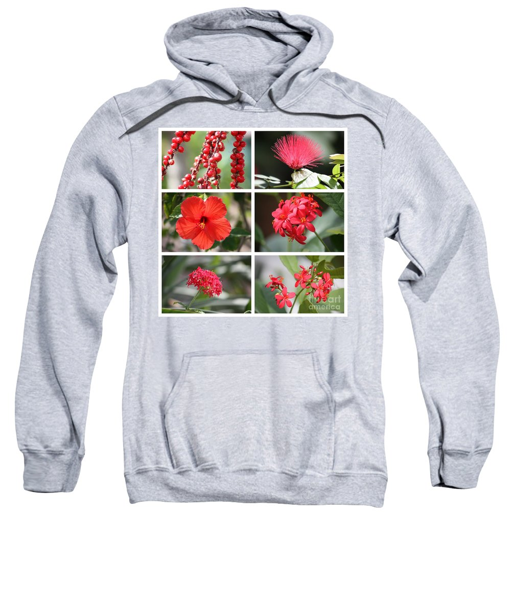 Tropical Flowers Sweatshirt featuring the photograph Red Tropicals Collage by Carol Groenen