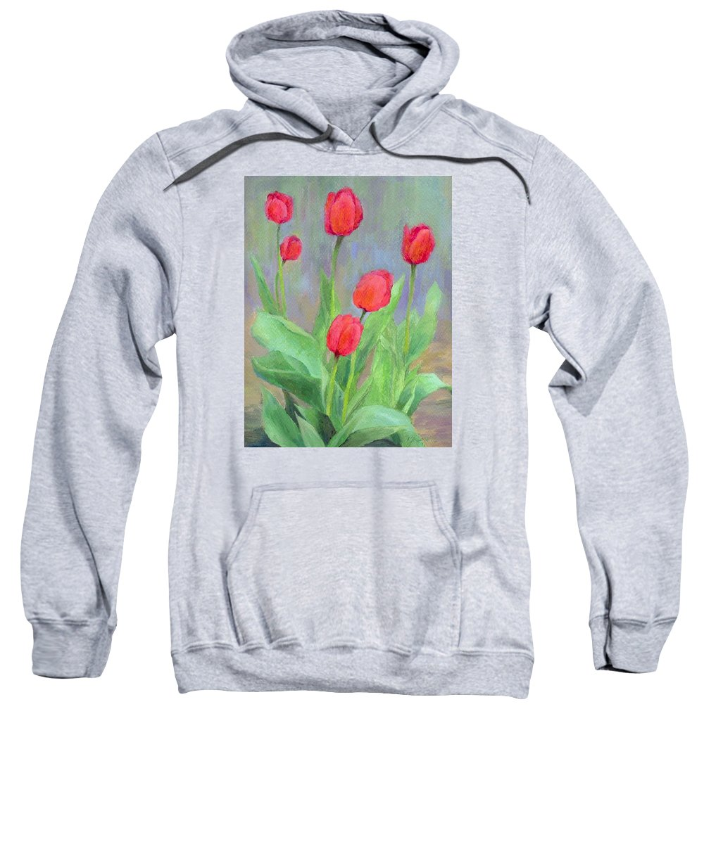 Red Tulips Sweatshirt featuring the painting Red Tulips Colorful Painting Of Flowers By K. Joann Russell by K Joann Russell