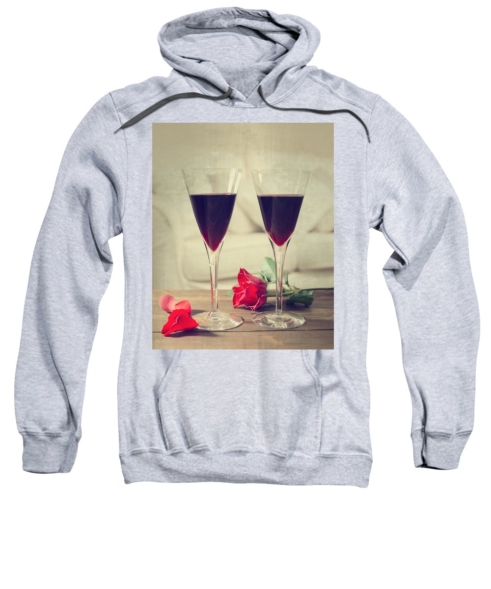 Red Sweatshirt featuring the photograph Red Wine And Roses by Amanda Elwell
