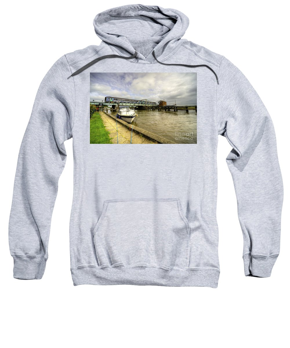 Reedham Sweatshirt featuring the photograph Reedham Swing Bridge by Rob Hawkins