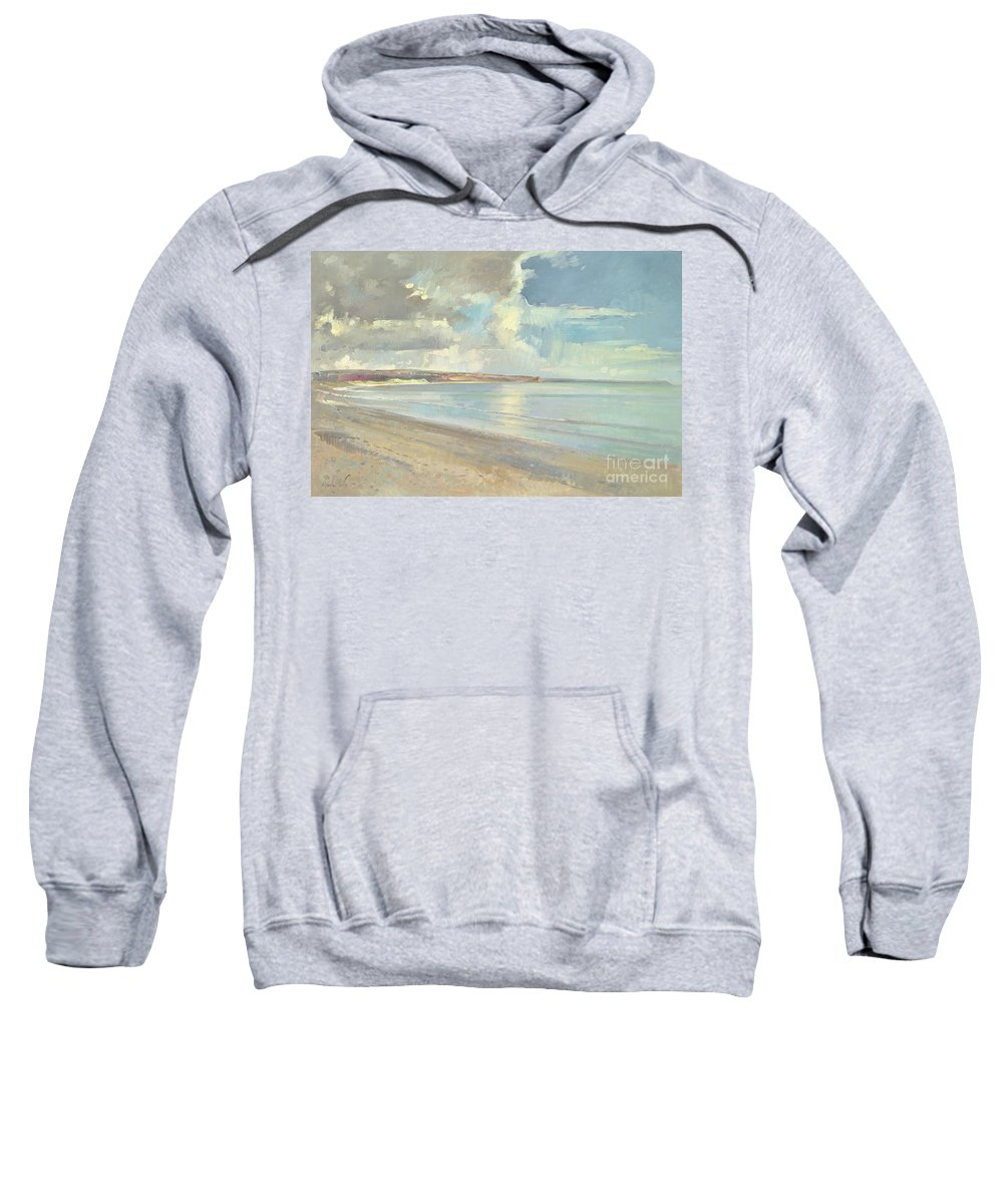 Seaside; Coast; Coastal; Suffolk; Bay; Landscape; Seascape; Cloudy Sweatshirt featuring the painting Reflected Clouds Oxwich Beach by Timothy Easton