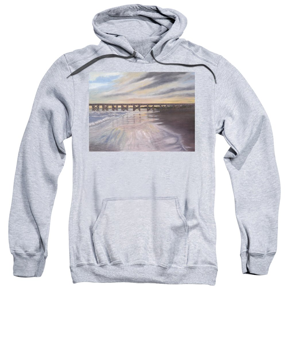 Beach; Pier; Low Country Sweatshirt featuring the painting Reflections by Ben Kiger