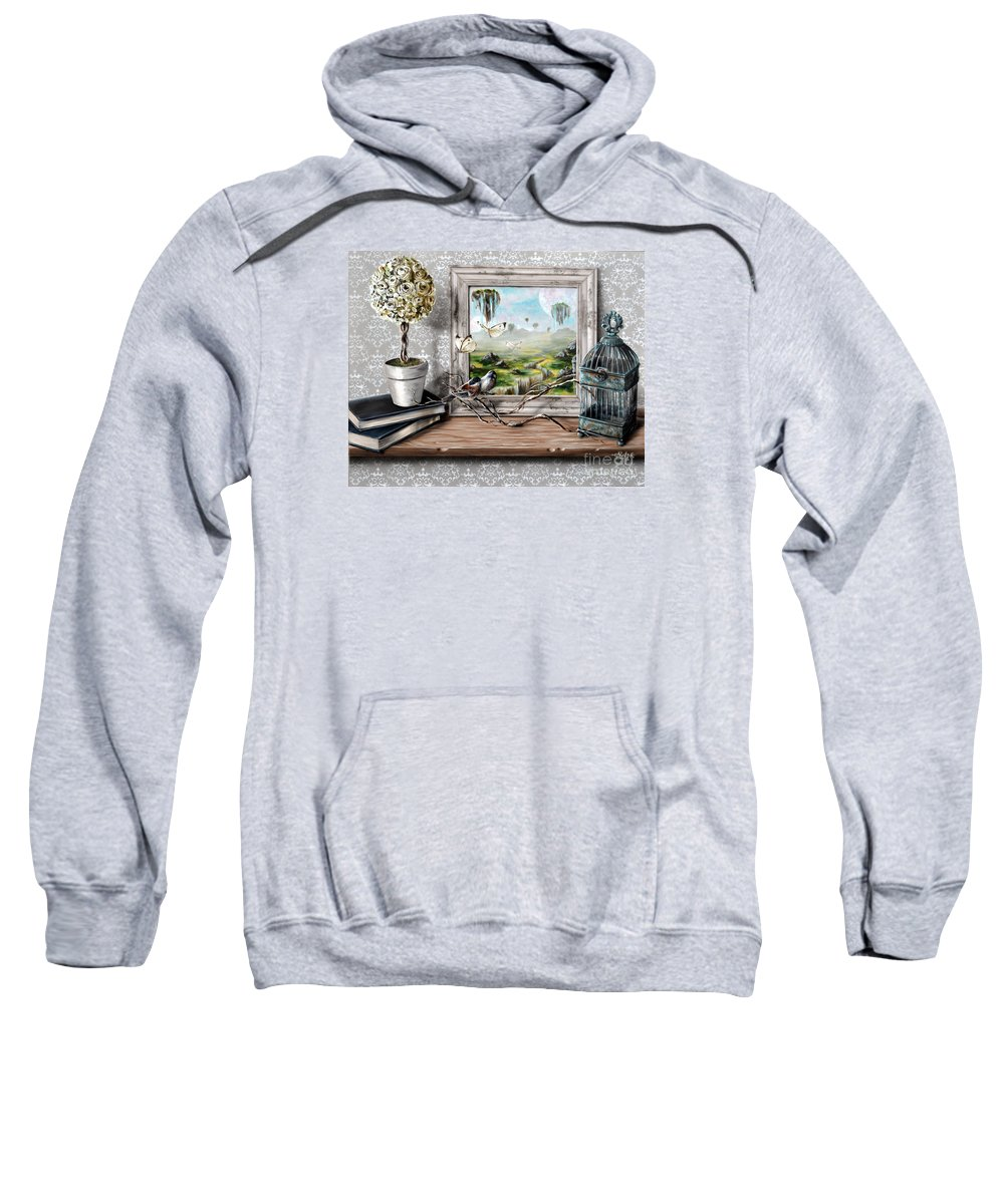 Surrealism Sweatshirt featuring the painting Reflections by Lachri