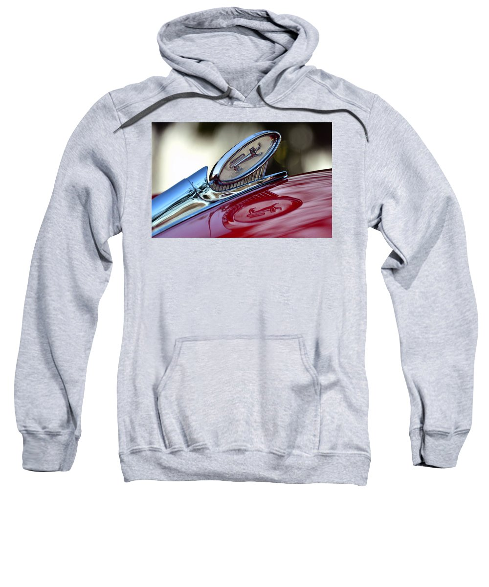1960 Ford Galaxy Starliner Hood Ornament Sweatshirt featuring the photograph Reflections Of Pride by David Lee Thompson