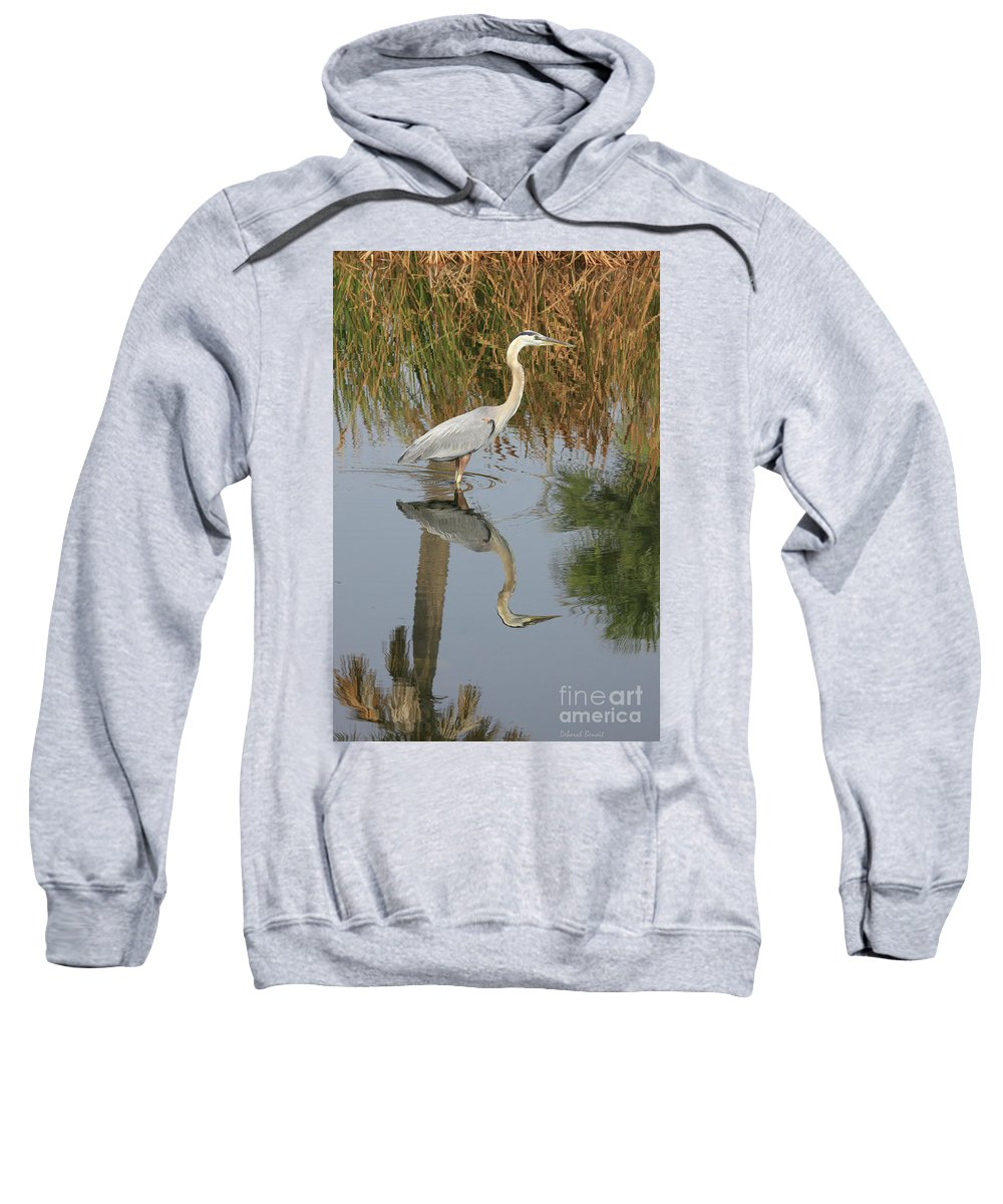 Blue Heron Sweatshirt featuring the photograph Reflective On Blue by Deborah Benoit