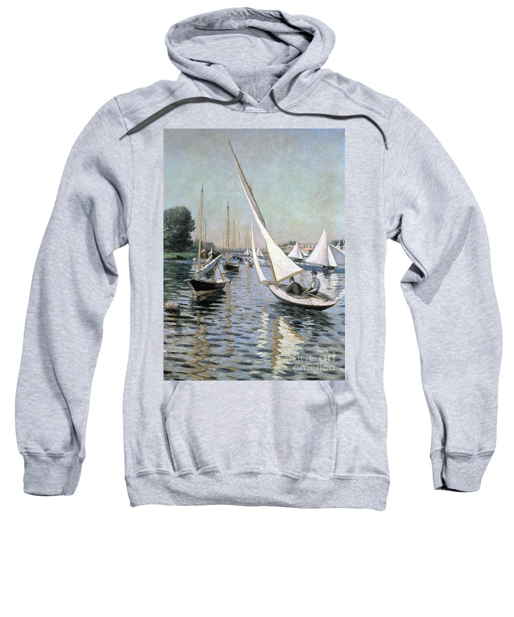 Regates; Sailing Boats; Boat; Summer; Race; Racing; Competition; Impressionist; Event Sweatshirt featuring the painting Regatta At Argenteuil by Gustave Caillebotte