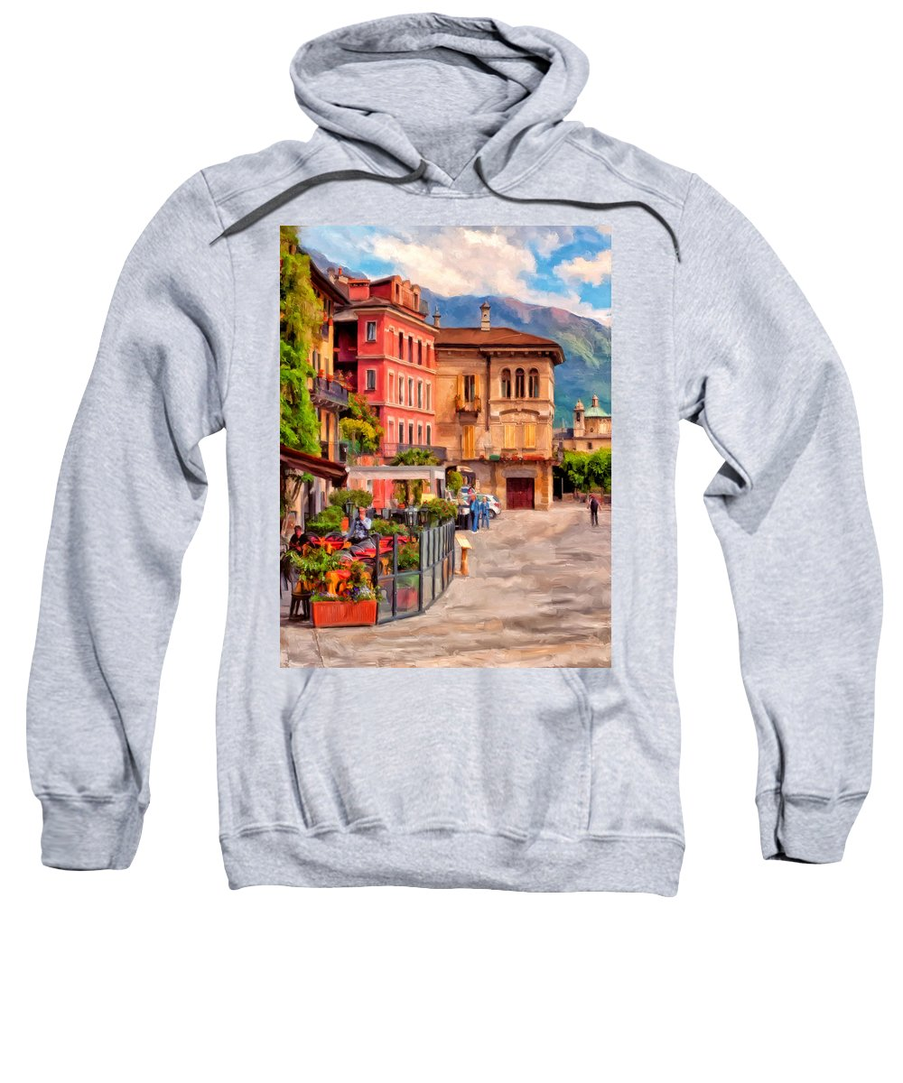 Northern Italy Sweatshirt featuring the painting Relaxing In Baveno by Michael Pickett
