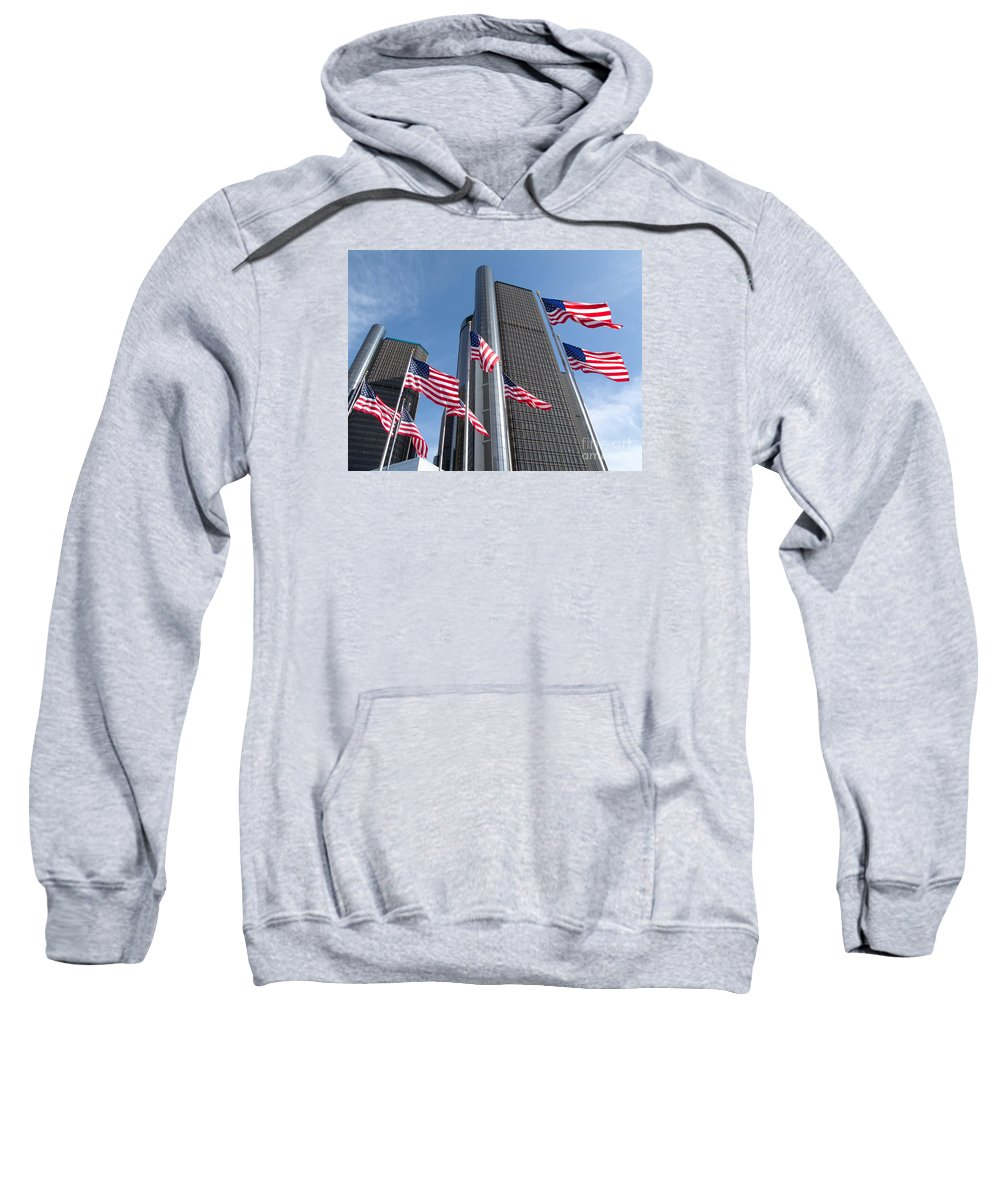 Detroit Sweatshirt featuring the photograph Rencen And Flags by Ann Horn