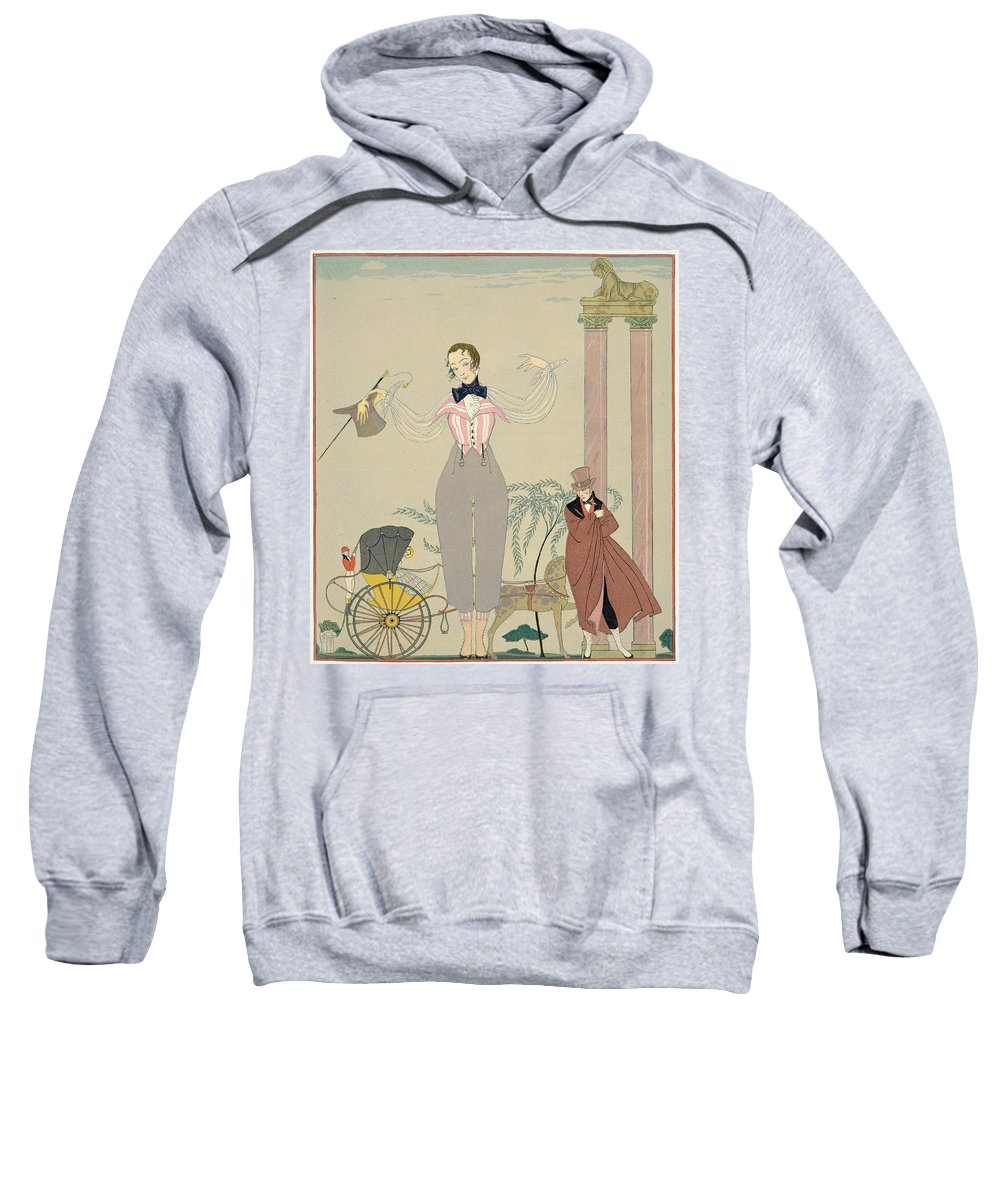 Rendez Sweatshirt featuring the painting Rendez-vous by Georges Barbier