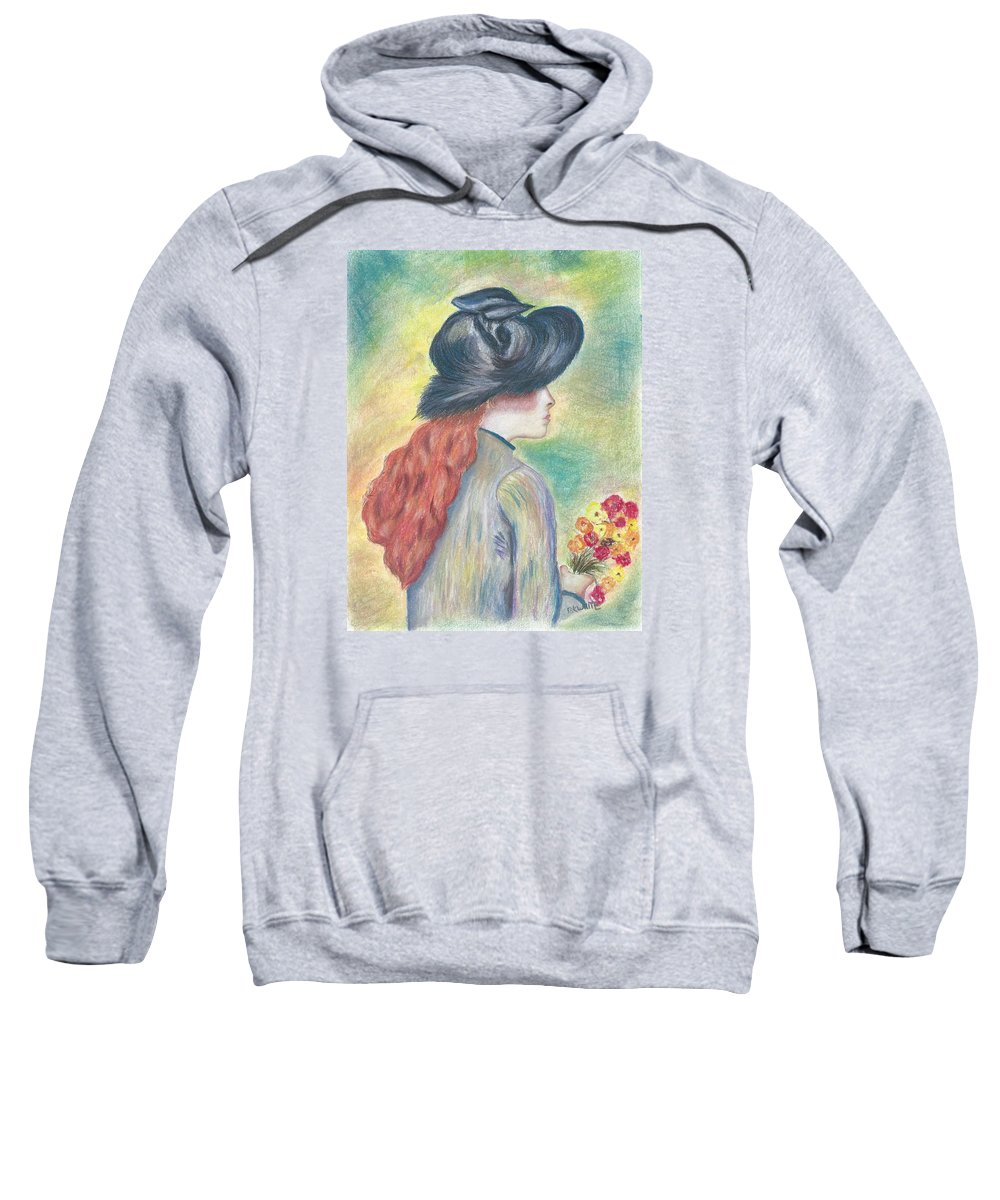 Girl Sweatshirt featuring the painting Renoirs' Painting Of Girl Holding A Bouquet In Pastels by Brian White