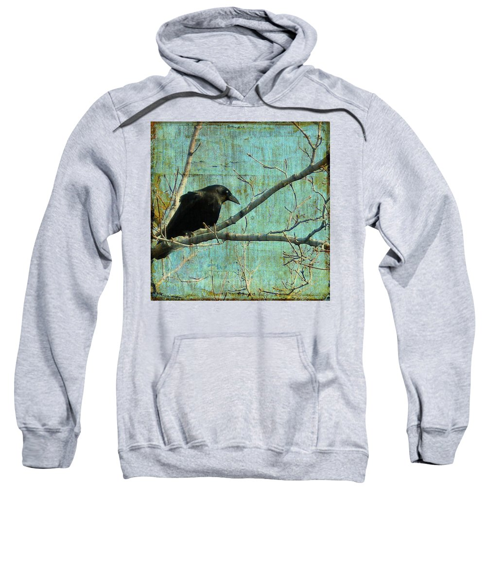 Vintage Blue Sweatshirt featuring the digital art Retro Blue - Crow by Gothicrow Images