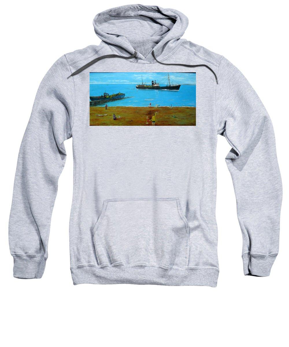 The ( Wyre Mariner)  Sweatshirt featuring the painting Returning Fishing Trawler by Errol Jameson