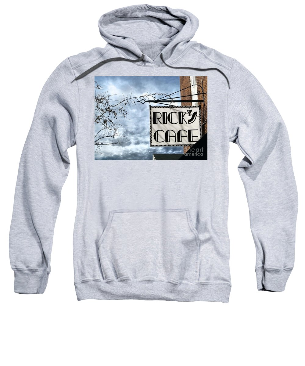 Streetscape Sweatshirt featuring the photograph Ricks Cafe by Ellen Cotton
