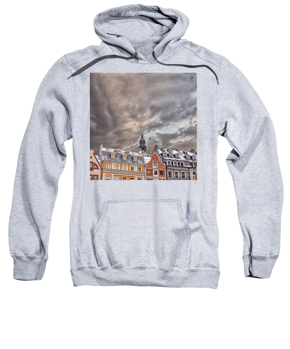 Winter Sweatshirt featuring the photograph Riga Architecture by Sophie McAulay